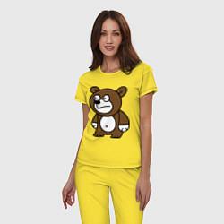 Пижама хлопковая женская Странный мишка цвета желтый — фото 2