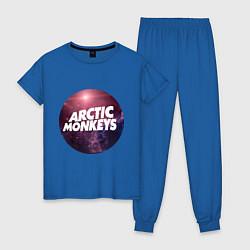 Пижама хлопковая женская Arctic Monkeys: space цвета синий — фото 1