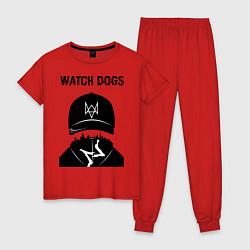Пижама хлопковая женская You will be Hacker цвета красный — фото 1