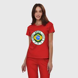 Пижама хлопковая женская Brazil 2014 цвета красный — фото 2