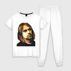 Пижама хлопковая женская Курт Кобейн: фан-арт цвета белый — фото 1