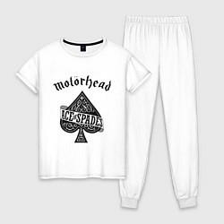 Пижама хлопковая женская Motorhead: Ace of spades цвета белый — фото 1