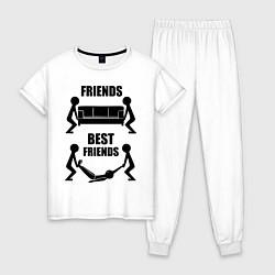 Пижама хлопковая женская Best friends цвета белый — фото 1
