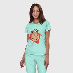 Пижама хлопковая женская Печенька цвета мятный — фото 2