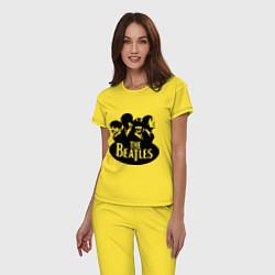 Пижама хлопковая женская The Beatles Band цвета желтый — фото 2