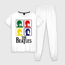 Пижама хлопковая женская The Beatles: Colors цвета белый — фото 1