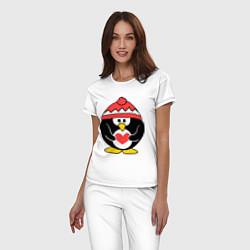 Пижама хлопковая женская Пингвин с сердцем цвета белый — фото 2