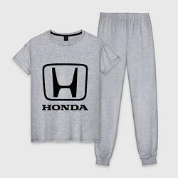 Пижама хлопковая женская Honda logo цвета меланж — фото 1