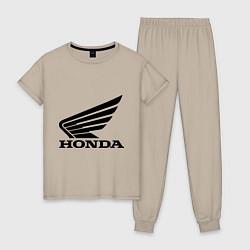 Пижама хлопковая женская Honda Motor цвета миндальный — фото 1