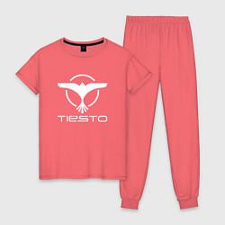 Пижама хлопковая женская Tiesto цвета коралловый — фото 1