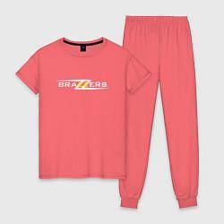 Пижама хлопковая женская Big Brazzers цвета коралловый — фото 1