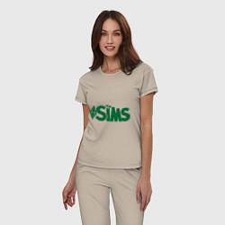 Пижама хлопковая женская Sims цвета миндальный — фото 2