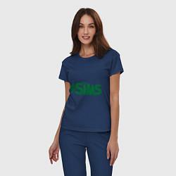 Пижама хлопковая женская Sims цвета тёмно-синий — фото 2