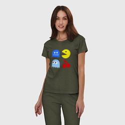 Пижама хлопковая женская Pac-Man Pack цвета меланж-хаки — фото 2