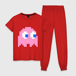 Пижама хлопковая женская Pac-Man: Pinky цвета красный — фото 1