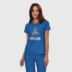 Пижама хлопковая женская STALKER: Online цвета синий — фото 2