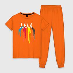 Пижама хлопковая женская Abbey Road Colors цвета оранжевый — фото 1