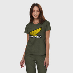 Пижама хлопковая женская Honda цвета меланж-хаки — фото 2