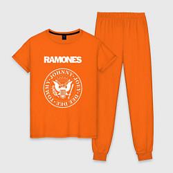 Пижама хлопковая женская Ramones цвета оранжевый — фото 1