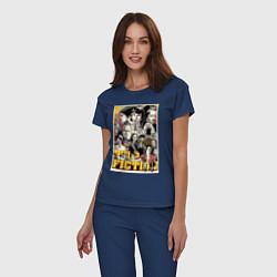Пижама хлопковая женская Pulp Fiction Stories цвета тёмно-синий — фото 2
