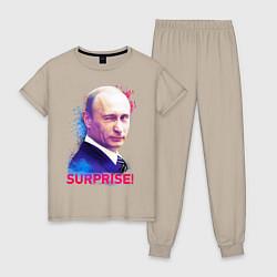 Пижама хлопковая женская Putin Surprise цвета миндальный — фото 1