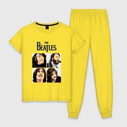 Пижама хлопковая женская The Beatles Stories цвета желтый — фото 1