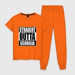 Пижама хлопковая женская Прямиком из Грузии цвета оранжевый — фото 1