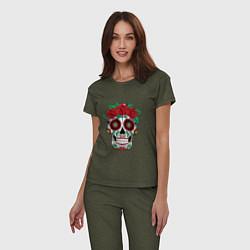 Пижама хлопковая женская Расписной женский череп цвета меланж-хаки — фото 2