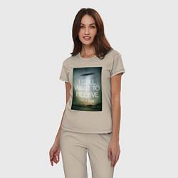 Пижама хлопковая женская X-Files: Aliens цвета миндальный — фото 2