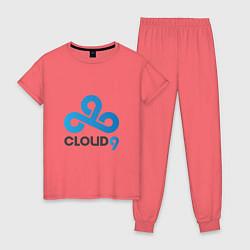 Пижама хлопковая женская Cloud9 цвета коралловый — фото 1