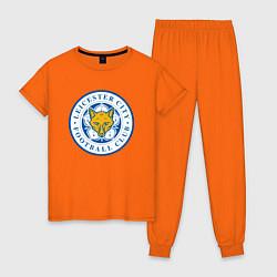 Пижама хлопковая женская Leicester City FC цвета оранжевый — фото 1