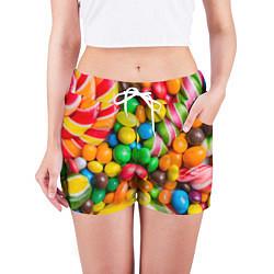 Шорты женские Сладкие конфетки цвета 3D — фото 2