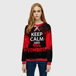 Свитшот женский Keep Calm & Kill Zombies цвета 3D-красный — фото 2