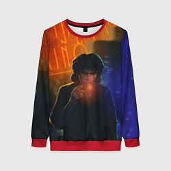 Свитшот женский Виктор Цой в ночи цвета 3D-красный — фото 1