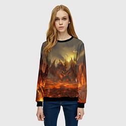 Свитшот женский Linage II: Fire Dragon цвета 3D-черный — фото 2