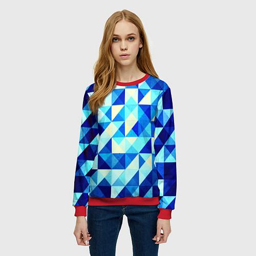 Женский свитшот Синяя геометрия / 3D-Красный – фото 3