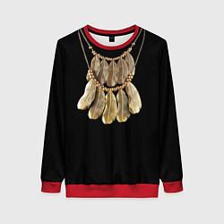 Свитшот женский Золотые перья цвета 3D-красный — фото 1