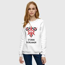 Свитшот хлопковый женский Dark Elf Mage - Storm Screamer цвета белый — фото 2