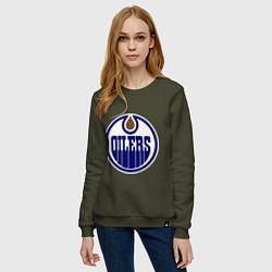 Свитшот хлопковый женский Edmonton Oilers цвета хаки — фото 2