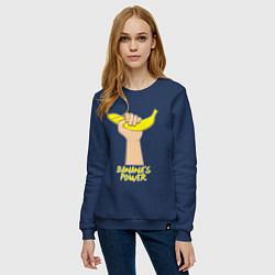 Свитшот хлопковый женский Сила бананов цвета тёмно-синий — фото 2