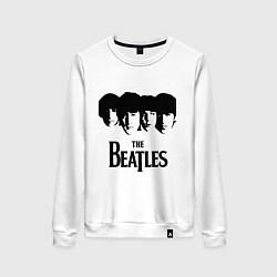Свитшот хлопковый женский The Beatles: Faces цвета белый — фото 1