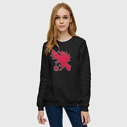 Свитшот хлопковый женский Warlock Eagle цвета черный — фото 2