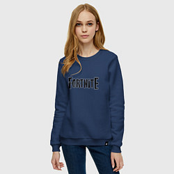Свитшот хлопковый женский Fortnite Logo цвета тёмно-синий — фото 2