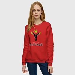 Свитшот хлопковый женский Houston Outlaws цвета красный — фото 2