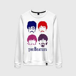 Свитшот хлопковый женский The Beatles faces цвета белый — фото 1
