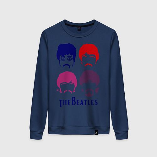 Женский свитшот The Beatles faces / Тёмно-синий – фото 1