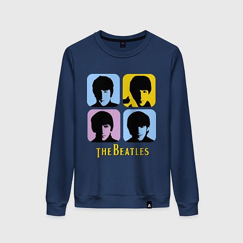Женский свитшот The Beatles: pop-art / Тёмно-синий – фото 1