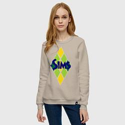 Свитшот хлопковый женский The Sims цвета миндальный — фото 2