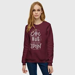 Свитшот хлопковый женский Coffee is a hug for you brain цвета меланж-бордовый — фото 2