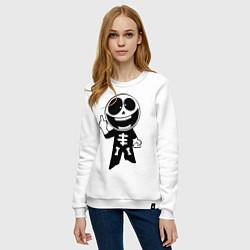 Свитшот хлопковый женский Человечек показывает fuck цвета белый — фото 2